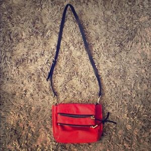 Vince Camuto across the shoulder red leather bag